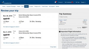 Detroit-Cancun: Travelocity Booking Page