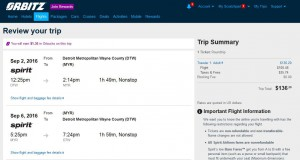 Detroit-Myrtle Beach: Orbitz Booking Page