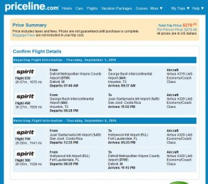 Detroit-San Jose: Priceline Booking Page