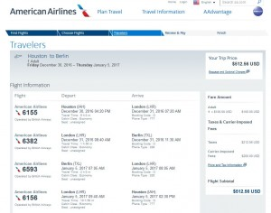 Houston-Berlin: American Airlines Booking Page