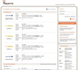 Houston-Casablanca: Vayama Booking Page