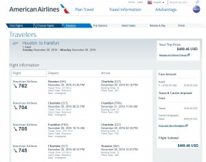 Houston-Frankfurt: American Airlines Booking Page