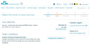 Houston-Marrakech: KLM Booking Page