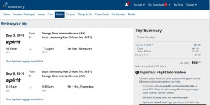 IAH-MSY: Travelocity Booking Page