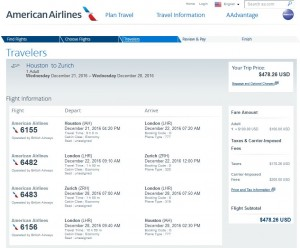 Houston-Zurich: American Airlines Booking Page