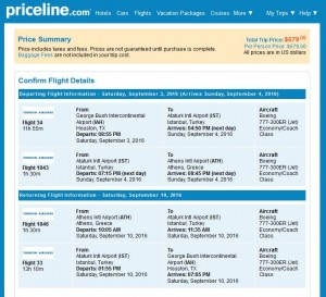 IAH-ATH: Priceline Booking Page