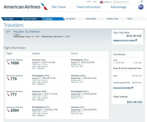 IAH-SNN: American Airlines Booking Page