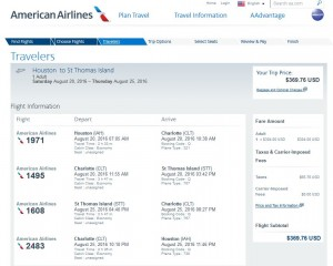 IAH-STT: American Airlines Booking Page