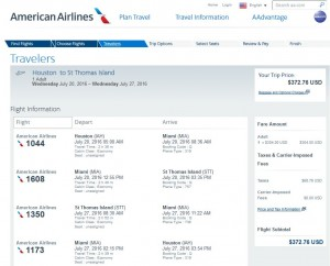 IAH-STT: American Airlines Booking Page ($373)