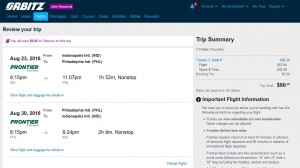 IND-PHL: Orbitz Booking Page