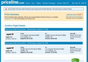 Los Angeles-Seattle: Priceline Booking Page