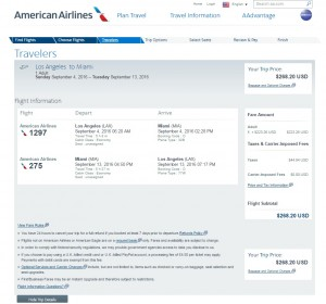 Los Angeles to Miami: American Airlines Booking Page