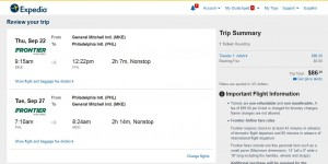 MKE-PHL: Expedia Booking Page
