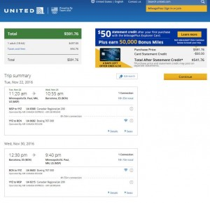 MSP-BCN: United Airlines Booking Page