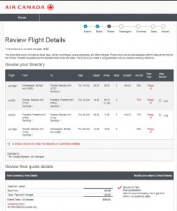 MSP-FRA: Air Canada Booking Page