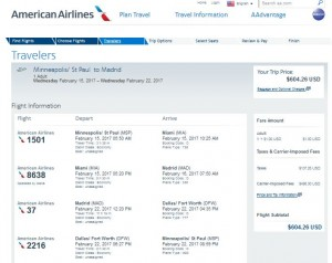 MSP-MAD: American Airlines Booking Page