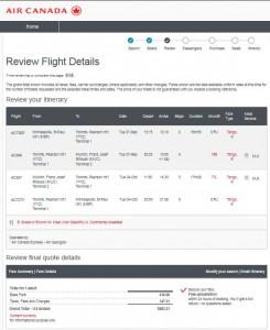 MSP-MUC: Air Canada Booking Page