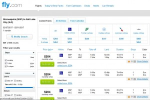 MSP-SLC: Fly.com Search Results