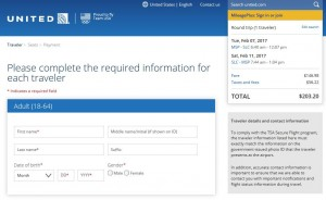 MSP-SLC: United Airlines Booking Page