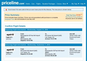 Minneapolis-Las Vegas: Priceline Booking Page