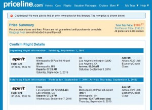 Minneapolis-Los Angeles: Priceline Booking Page ($187)