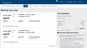 Minneapolis-Los Angeles: Travelocity Booking Page