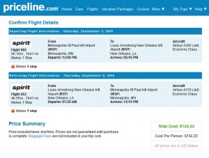 Minneapolis-New Orleans: Priceline Booking Page