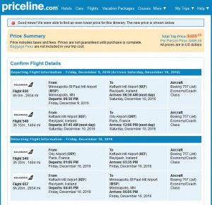Minneapolis-Paris: Priceline Booking Page