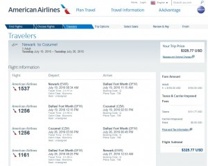 NYC-Cozumel: American Airlines Booking Page