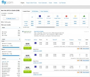 NYC to Dublin: Fly.com Results