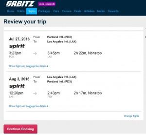 Portland-Los Angeles: Orbitz Booking Page