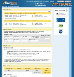 LA to Tokyo: SmartFares Booking Page