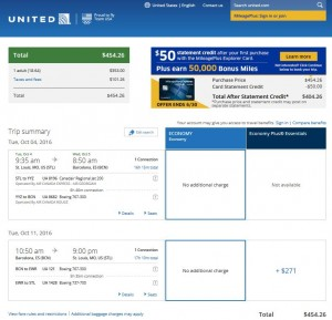 STL-BCN: United Airlines Booking Page