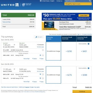 STL-MAD: United Airlines Booking Page