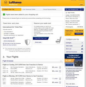 San Francisco-Venice: Lufthansa Booking Page
