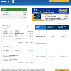 San Francisco-Venice: United Airlines Booking Page