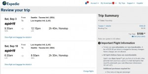 Seattle-Los Angeles: Expedia Booking Page