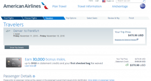 Denver to Frankfurt: AA Booking Page