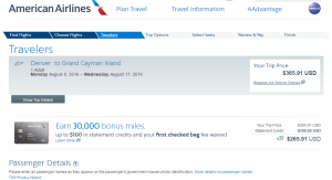 Denver to Cayman Islands: AA Booking Page