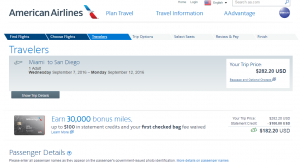 Miami to San Diego: AA Booking Page