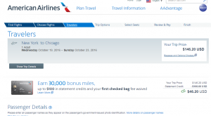 NYC to Chicago: AA Booking Page