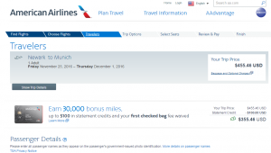 NYC to Munich: AA Booking Page