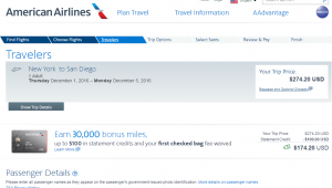 NYC to San Diego: AA Booking Page