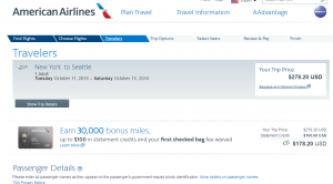 NYC to Seattle: AA Booking Page