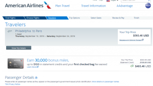 Philly to Paris: AA Booking Page