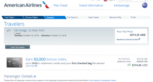 San Diego to NYC: AA Booking Page