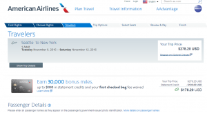 Seattle to NYC: AA Booking Page
