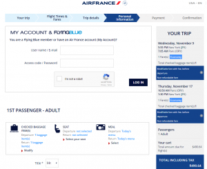 NYC to Paris: AirFrance Booking Page