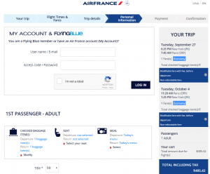 NYC to Paris: Air France Booking Page
