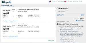 New Orleans to Chicago: Expedia Booking Page